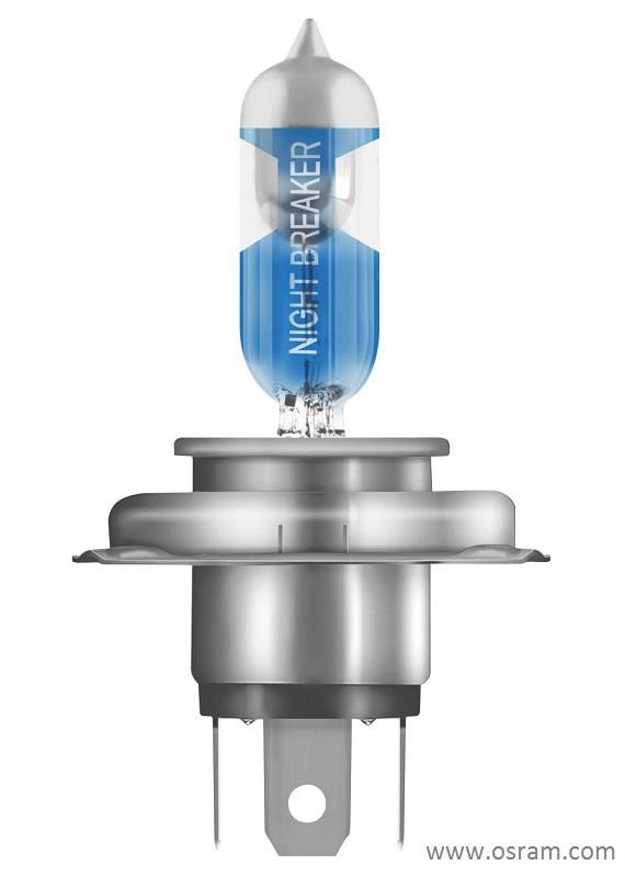 Уникальный дизайн галогенной лампы Osram Night Breaker Laser H4 / H7 с лазерной гравировкой названия продукта и серебряным колпачком
